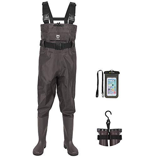 TIDEWE Bootfoot Chest Wader, 2-Ply Nylon/PVC Waterproof Fishing & Hunting Waders with Boot Hanger for Men and Women Brown Size 5