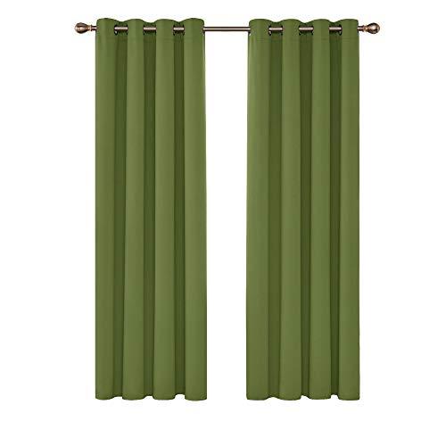 Deconovo Vorhang Blickdicht mit Ösen Gardinen Kinderzimmer Verdunkelungsvorhang ösen 210x140 cm Apfelgrün 2er Set