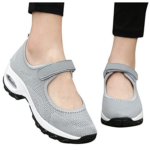 BIBOKAOKE Sneaker Damen Outdoor Fitnessschuhe Atmungsaktive Mesh Schuhe mit Klettverschluss Outdoorsandalen Damen Freizeitschuhe Keilabsatz Leicht Walking Schuhe Plateau Turnschuhe