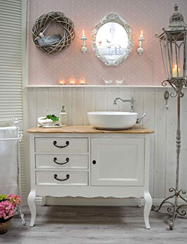 Romantischer Landhaus-Waschtisch mit Eichenplatte & Waschbecken Badmöbel Französischer Landhausstil Nostalgisch