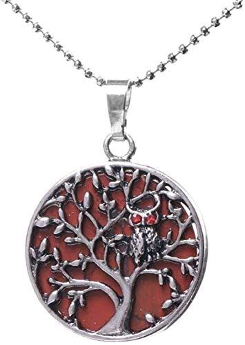 Collar Collares con colgante de piedra para mujer Árbol genealógico Búho Piedras preciosas redondas naturales Chakra Collar con colgante de jaspe rojo con cadena de plata Joyería de Navidad Regalo de