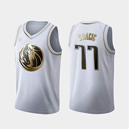 ZeYuKeJi Los Hombres de Jersey-NBA Jersey Dallas Mavericks 77 Doncic Jersey Malla de Baloncesto Retro de edición Conmemorativa de Baloncesto Camiseta sin Mangas (Color : White, Size : XL)
