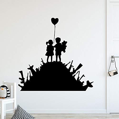 Nette Jungen und Mädchen dekorative Aufkleber wasserdichte Heimdekoration Jungen und Mädchen dekorative Wandbild Aufkleber A4 L 43x44cm