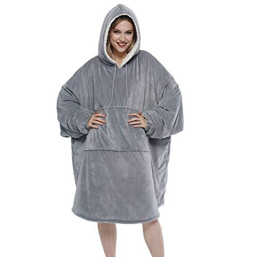 Movaty Übergroß Sherpa tragbare Decke Sweatshirt,Kapuzendecke für Adults Herren und Frauen und Jugend, mit großer Fronttasche Tragbar Kuscheldecke mit Ärmeln,für TV Fernsehen, Party,Urlaub