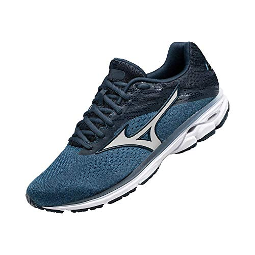 Mizuno Men's Wave Rider 23 Running Shoe, Campanula-Silver, 9.5 D US