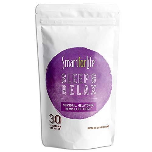 Smart for Life Sleep and Relax - Premium Sleep Aids for Adults with Sensoril, Melatonin 10mg, Hemp Powder & Lepticore – Non Habit Forming Sleep Supplement – 30 Vegan Capsules
