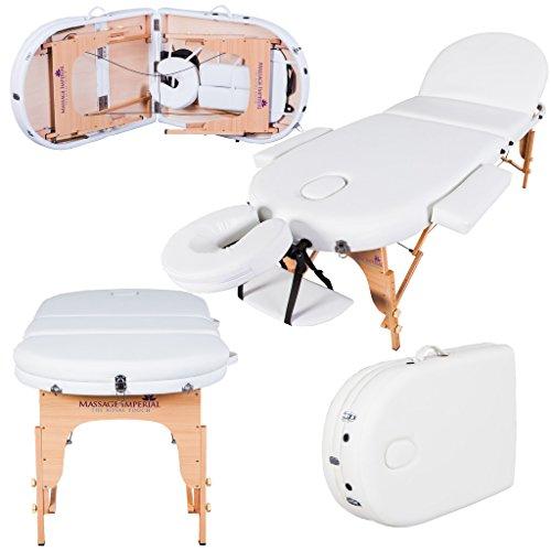 Massage Imperial® - tragbare Profi-Massageliege Monarch - 7cm Schaumstoff mit hoher Dichte - leicht 16 kg - 3-teilig - elfenbeinweiß