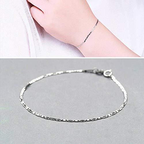 BinLZ S925 Silber Armband Weibliche Mode Einfache Glatte Fliese Armband, s, Weiß, Einheitsgröße
