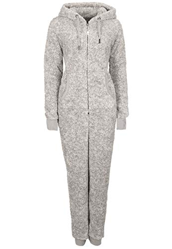 Eight2Nine Damen Jumpsuit aus kuscheligem Teddy Fleece | Overall | Ganzkörperanzug mit Ohren Light-grey1 L/XL - 2