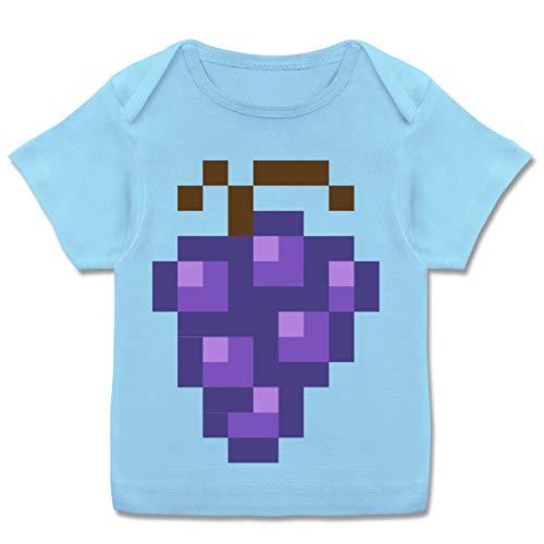 Karneval und Fasching Baby - Pixel Traube - Karneval Kostüm - 56-62 - Babyblau - Traube - E110B - Kurzarm Baby-Shirt für Jungen und Mädchen