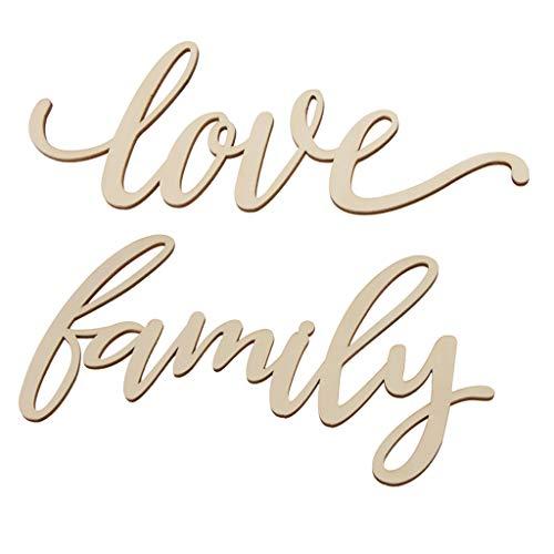 B Blesiya 2 pcs Letreros de Madera de Pared Minimalistas Letras Love y Family Adornos de Cafetería Pub Hotel