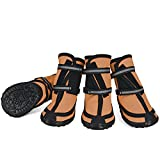 Dog Shoes for Large Dogs Winter Snow Dog Booties with Adjustable Straps Rugged Anti-Slip Sole Paw - Sports Running Hiking Pet Dog Boots Protectors Comfortable Fit for Medium Large Dog (L, Orange)