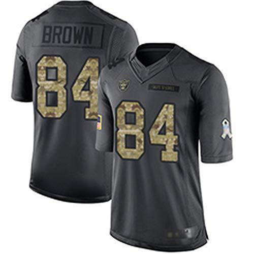 Las Vegas Raiders # 84 American Football Trikot, Antonio Brown 84# Rugby Jersey Sportbekleidung T-Shirt Kurzarm Tageskleidung und Spiel verfügbar-Darkgray-XL