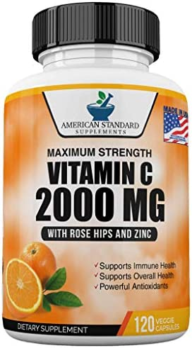Vitamin C 2000mg with Zinc 40mg Per Serving and Rose Hips Extract Immune Support for Adults product image