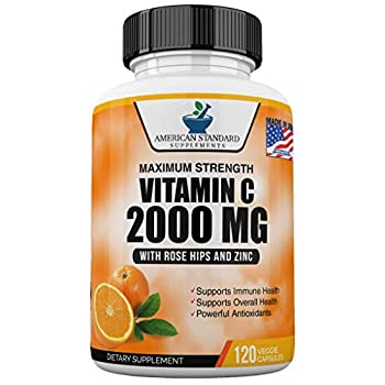 Vitamin C 2000mg with Zinc 40mg Per Serving and Rose Hips Extract Immune Support for Adults Immune Booster Vegan Non GMO No Filler No Stearate 120 Vegan Capsules 60 Day Supply