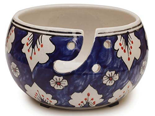 """Deals Black Friday - 7""""Ceramic Yarn Bowl for Knitting, Crochet for Moms - Beautiful Gift on All Occasions. A Perfect Gift for Moms and Grandmothers (Big Yarn_22)"""