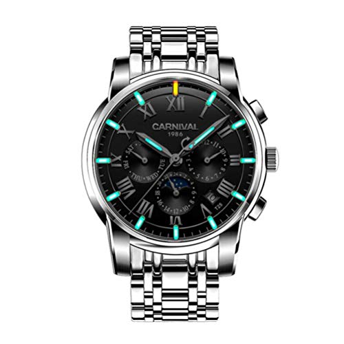 KUANDARMX Moda Reloj Mecánico Automático Reloj para Hombres T25 Relojes Luminosos De Tritio 30 Metros Vida Impermeable. Regalo, D