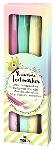 moses. Flowers & Friends Radierbare Textmarker | Highlighter in 4 leuchtenden Farben mit integriertem Radiergummi zum Korrigieren | Für einfaches Markieren von Texten | Im 4 er Pack, mehrfarbig