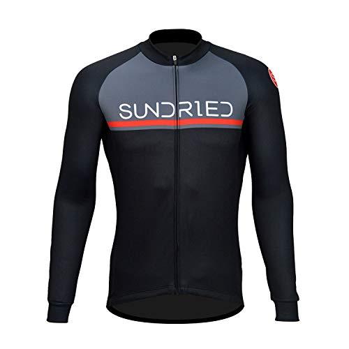 Sundried Mens Manica Lunga in Bicicletta Jersey della Bici della Strada MTB Vestiti della Bicicletta (Nero, M)