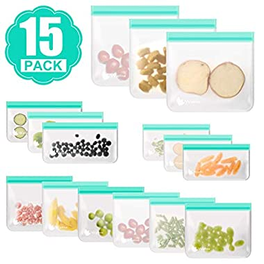 Wattne [15 Pack] Reusable Sandwich & Snacks & Lunch Bags, Reusable Ziplock Storage Bags Freezer Safe, Extra Thick PEVA Material BPA/Plastic Free Bags for Foods, Fruits,Toiletries, Make-up,Dark Green