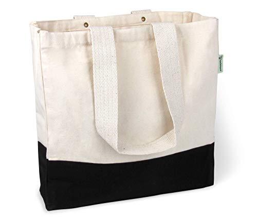 BagCouture stylische geräumige Tragetasche | mit Innentasche, Reißverschluss, und großem Boden | Baumwolltasche | Handtasche | Einkaufstasche | Segeltuch Material