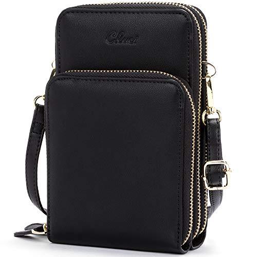 Small Crossbody Bag for Women Leather Cellphone Shoulder Purses Lightweight Fashion Travel Wallet Designer Ladies Black