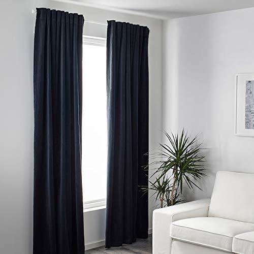 IKEA SANELA Velvet Curtains 55x118 Room Darkening 2 Panels 1 Pair Dark Blue