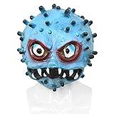 Geagodélia Masque d'Halloween 3D en latex effrayant les virus pour adultes, hommes et femmes, déguisement pour festival, fête, carnaval - Bleu - Large