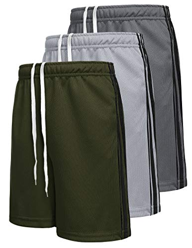 Boyoo Boys Shorts Pack Moisture Wicking Gym Summer Shorts for Teen Boys Active Performance Short Pants