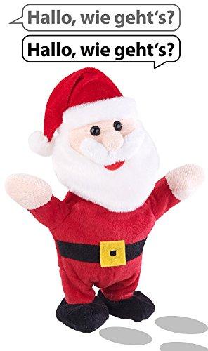 Playtastic Sprechender Nikolaus: Sprechender Weihnachtsmann mit Mikrofon, spricht nach und läuft, 22 cm (Weihnachtsmann mit Weihnachtsmütze)