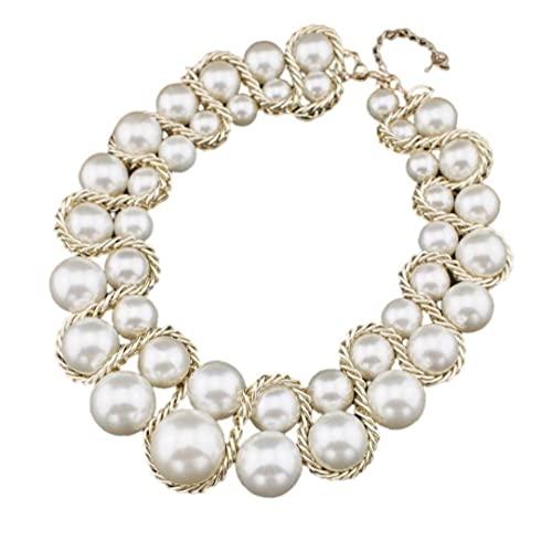 Regali di gioielli del girocollo della catena della catena del choker della perla per le donne delle ragazze, collana della pera