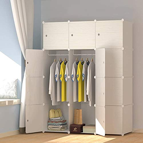 Price comparison product image JOISCOPE MEGAFUTURE Plastic Wardrobe,  Portable Wardrobe with Wood Grain Pattern, Closet for Hanging ClothesCombination Armoire,  Modular Cabinet for Space Saving,  Ideal Storage Organizer Cube (12-Cube)