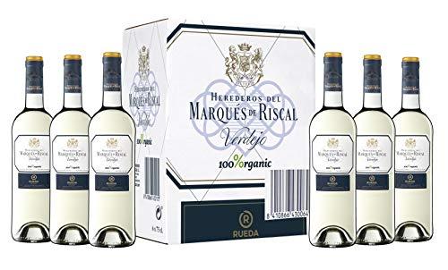 Marqués de Riscal - Vino blanco Denominación de Origen Rueda, Variedad 100% Verdejo, 100% Organic con certificación ecológica - Estuche 6 botellas x 750 ml - Total 4500 ml