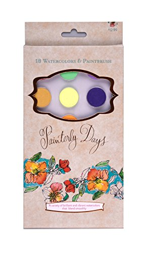 Painterly Days - 18 Watercolors: 18 Watercolors & Paintbrush