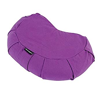 Retrospec Sedona Zafu Yoga Meditation Cushion with Carry Handle and Filled with buckwheat Hulls  Mulberry Crescent