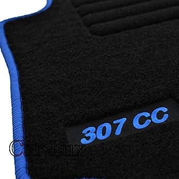 Car Lux AR02617 Alfombras Alfombrillas Medida Edition Velour Ribete Rojo para el 307cc 307 CC
