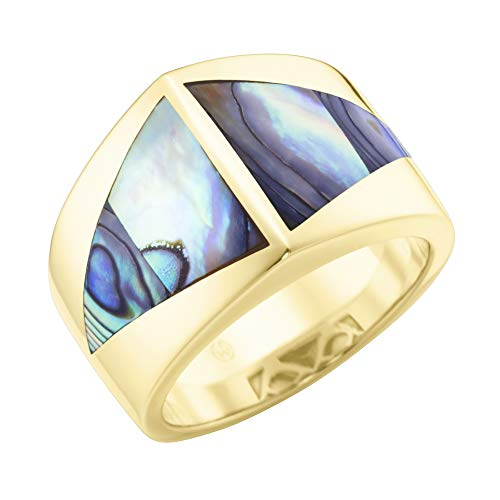 Giorgio Martello Milano Ring Mit Abalone Einlage In Dreieckiger Form, Silber 925 Abalone, 56 925 Sterling Silber