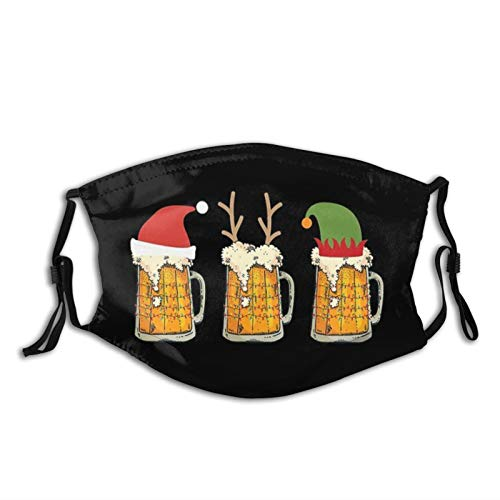 Christmas Beer Mugs Santa Elf Reindeer Drinking Face Mask Scarf, Washable & Reusable Breathable Bandana With 2 Filters, For Men & Women
