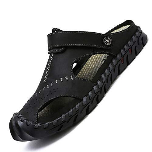 tqgold® Sandalen Herren Leder Clogs Sommer Outdoor Sport Geschlossen Hausschuhe Freizeit Pantoletten(Schwarz,Größe46)