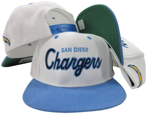 San Diego Chargers White/Blue Script Two Tone Adjustable Snapback Hat/Cap