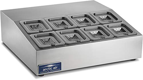 Arctic Air ACP8SQ 27.5-Inch 8-Pan Compact Refrigerated Counter-Top Prep Unit, 115v,Silver
