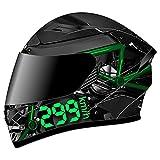 Motorrad Integralhelm Herren, Fullface Helm Anti Fog Doppelvisier Motorradhelm Klapphelm...