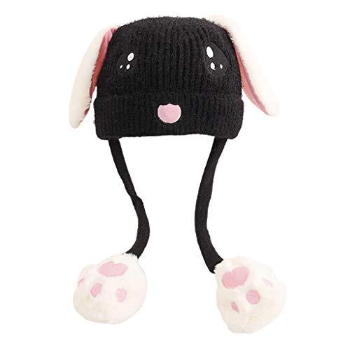 Manman Gorro Tejido con Bordado de Cara de Conejo Lindo para niños airbag Orejas móviles Negro