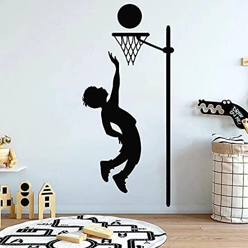 Vivero dormitorio vinilo calcomanía de pared decoración de la habitación de los niños jugar baloncesto deporte pegatinas mural de pared - tamaño: 57x124cm
