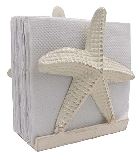 Nautical Napkin Holder Lunch/Dinner/Metal Napkin Holder/Napkin Holder For Kitchen/Beverage Cocktail Napkin Holder/Ocean/Coastal Napkin Holder By The Metal Magician (Starfish Sea White)