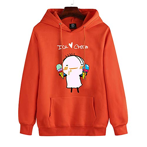 Fansu 3D Ice Cream Printed Hoodie for Women Men, Pullover Long Sleeve Drawstring Hooded Lightweight Sweatshirts with Pockets for Autumn Winter Tracksuits Tops Plus Size (L,Orange)