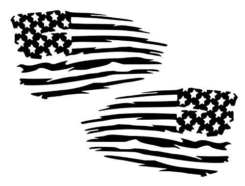 UR Impressions Blk Mirrored Tattered American Flag 2-Pack Decal Vinyl Sticker Graphics for Cars Trucks SUV Vans Walls Windows Laptop Black 5.5 X 3.2 inch URI735-B