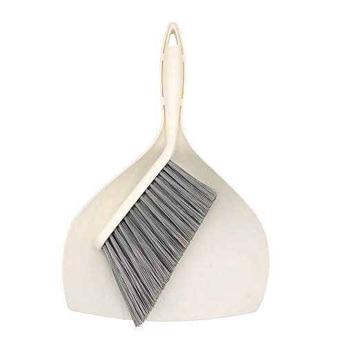 Mini Dustpan and Brush Set - Etable Stylish Sweeping Equipment with Ergonomic Handle for Easy Sofa, Desk, Car Trunk & Seats, Pet House Cleaning - Durable Non-Scratch Angled Bristles for Corner(White)
