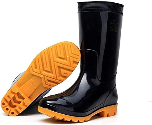 KEKEYANG Rubber rain Boots Men's Outdoor Thickened wear-Resistant Work rain Boots Non-Slip Waterproof rain Boots Garden Shoes Outdoor Boots Rain Boots (Color : Black Middle Tube, Size : 43)