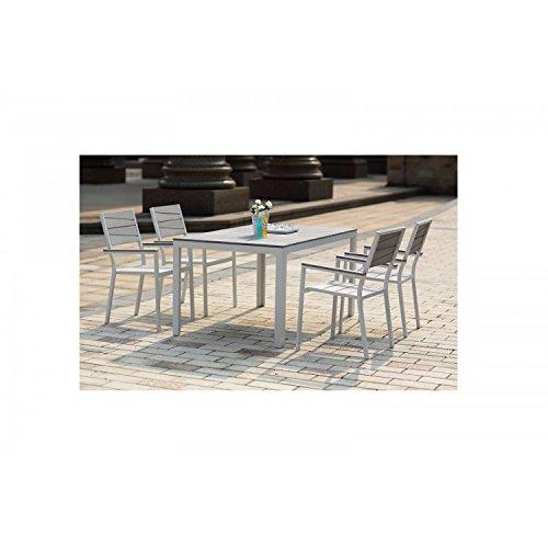 Mon Usine 204778 Le Carillon Salon de Jardin 4 Places Aluminium et polywood  Gris 150 x 90 x 74 cm